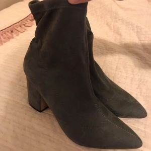 Grey velvet sock ankle booties
